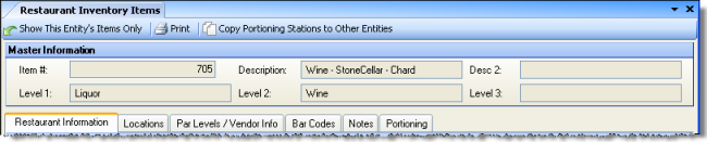 Restaurant Inventory Items